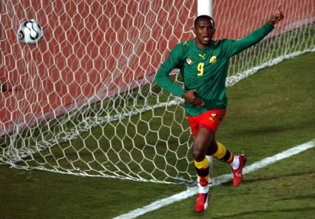 Eto'o scores against Togo in 2006 (photo credit:  Reuters via camfoot.com)