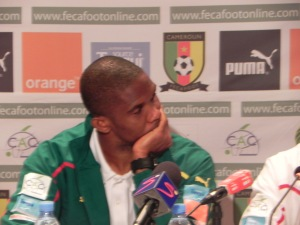 Samuel Eto'o at a press conference in Dakar