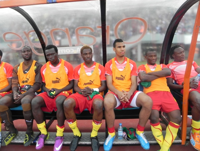 Cameroon players on reserve bench, Dakar 26 March 2011