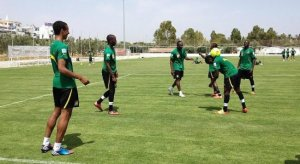 Cameroon players training at Sousse in Tunisi